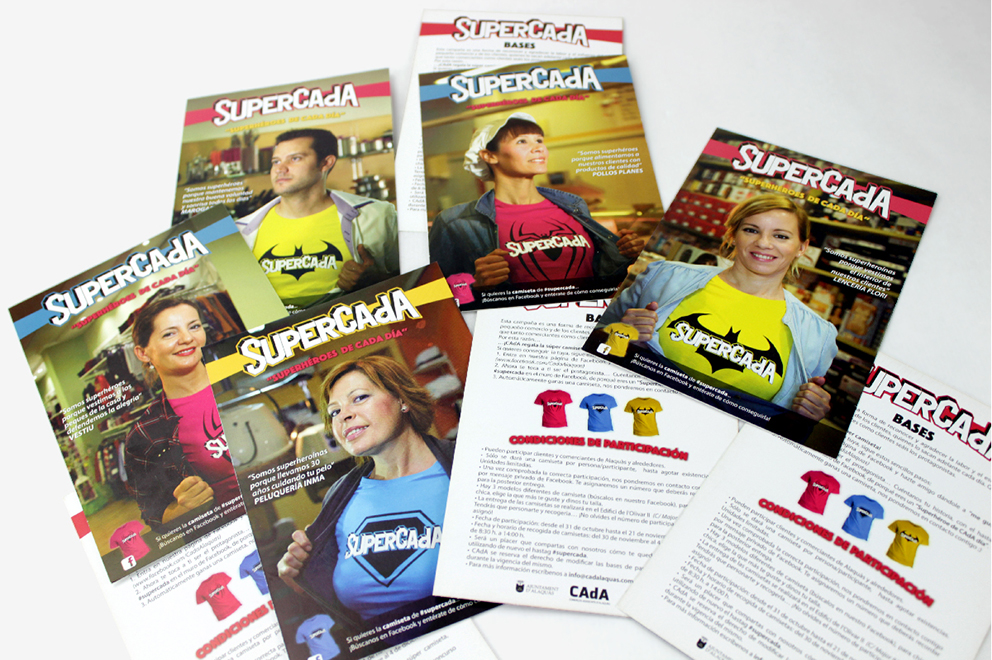 supercada diseño gráfico superhéroe campaña publicidad advertising redes sociales superhéroes superheroínas superman batman spiderman camisetas poster postal comerciantes CAdA Alaquás hastag facebook sorteo