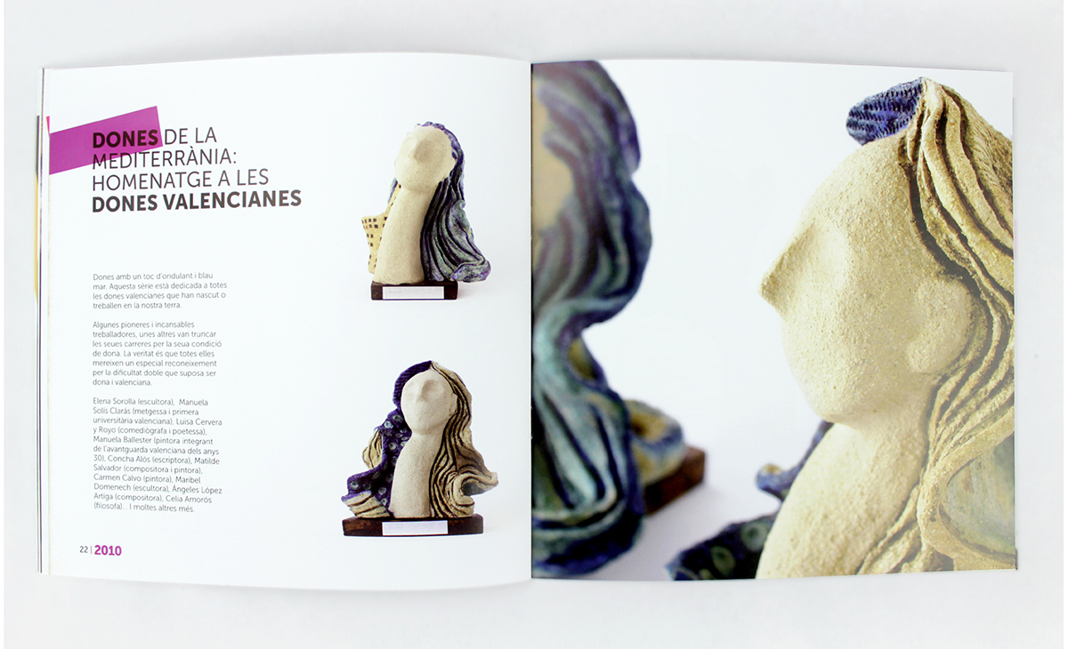 diseño editorial catálogo dones aldaia mujer escultura elvira taberner exposición