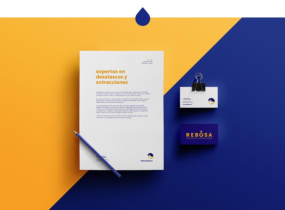 identidad corporativa rebosa marca naming diseño gráfico desatascos extracciones papelería