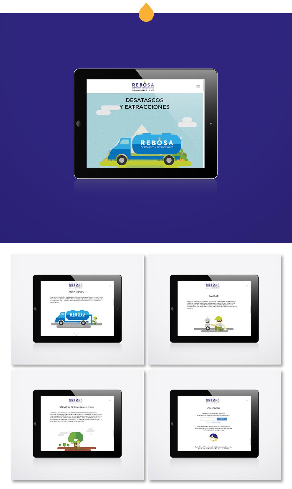 identidad corporativa rebosa marca naming diseño gráfico desatascos extracciones gif ilustración web responsive