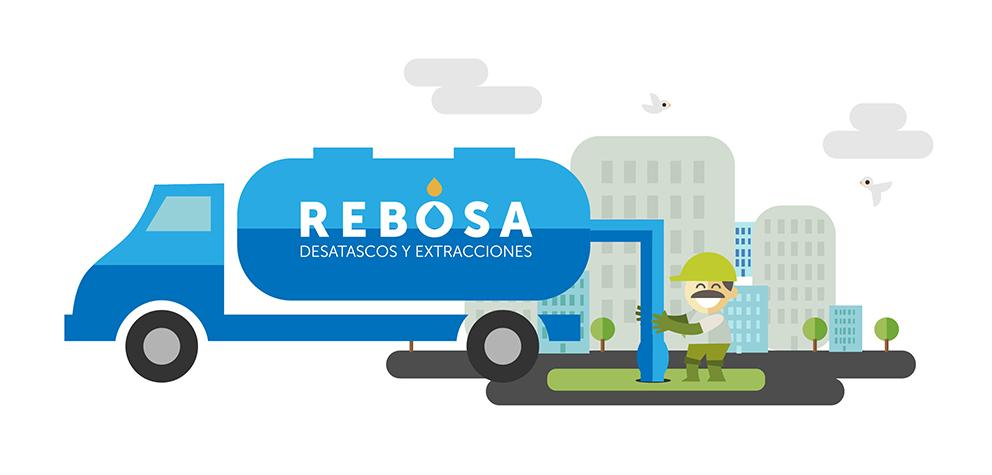 identidad corporativa rebosa marca naming diseño gráfico desatascos extracciones papelería ilustración web
