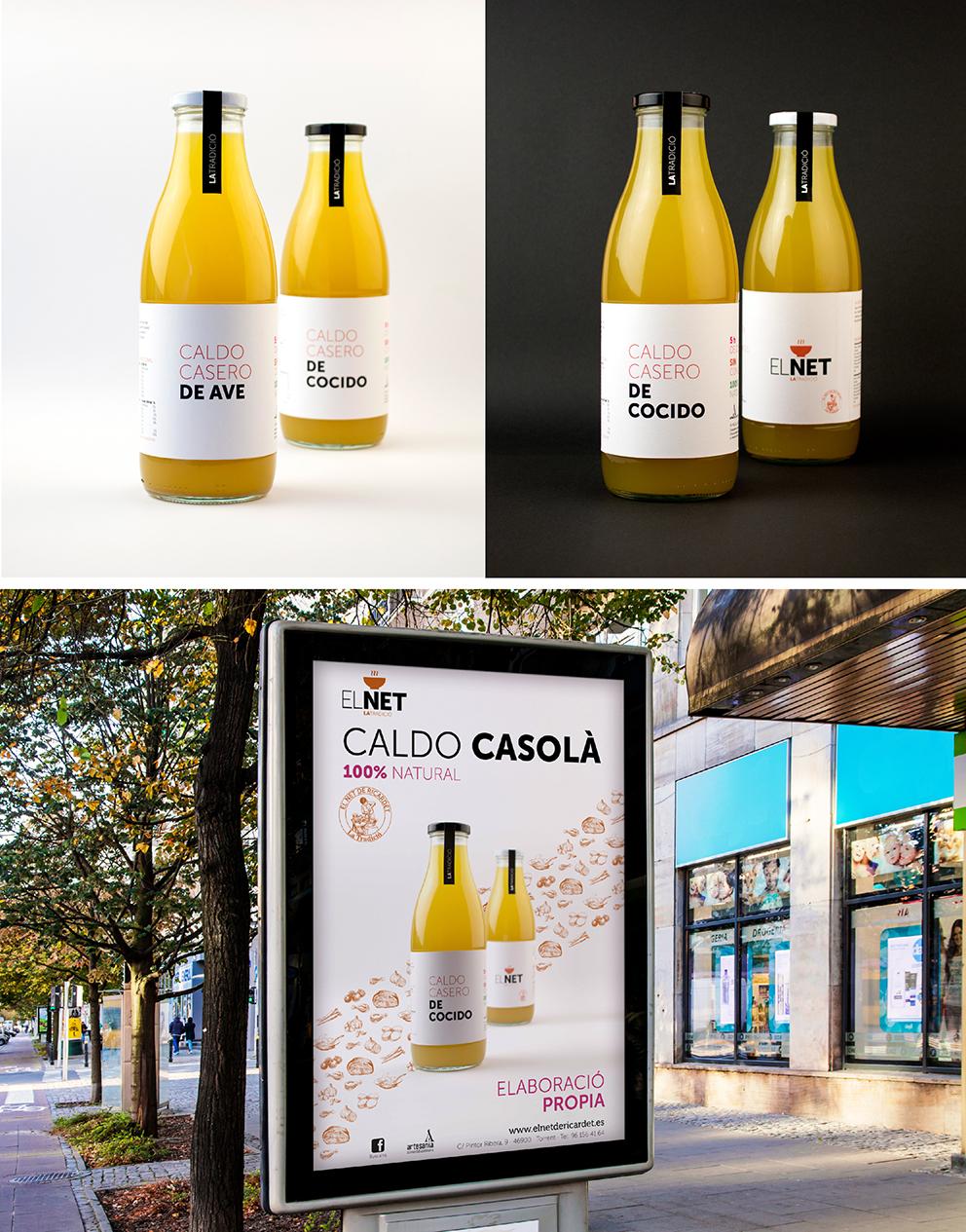 diseño el net marca identidad corporativa diseño gráfico aplicación gráfica carnicería torrent mupi caldos packaging campaña publicidad