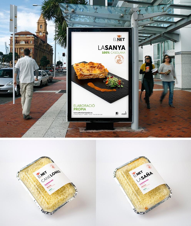 diseño el net marca identidad corporativa diseño gráfico aplicación gráfica carnicería torrent mupi comida preparada pasta packaging campaña publicidad