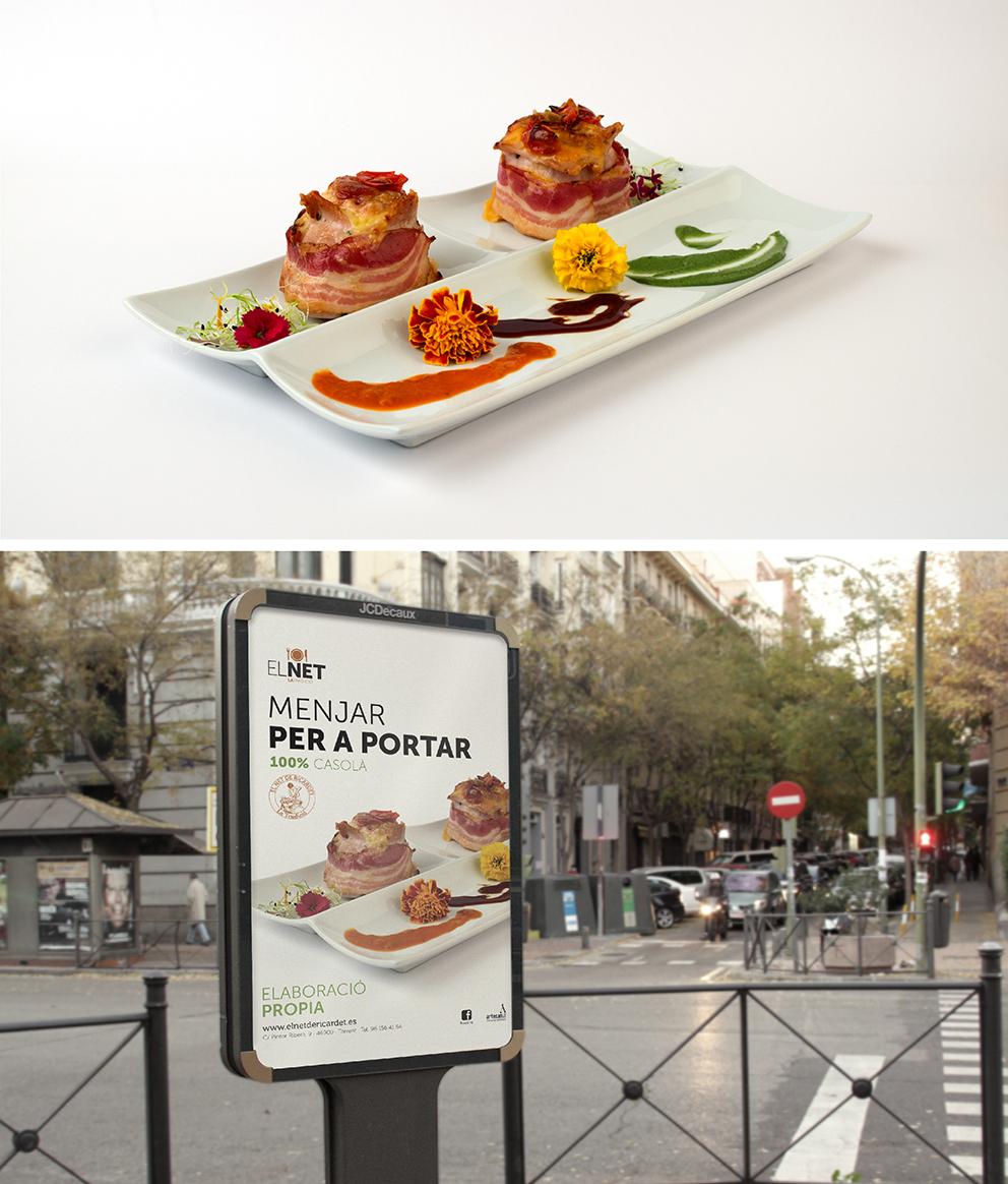 diseño el net marca identidad corporativa diseño gráfico aplicación gráfica carnicería torrent mupi packaging campaña publicidad comunicación gráfica comida preparada casera