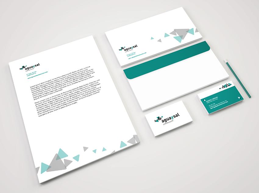 papeleria coprporativa aguaysal comunicación identidad corporativa diseño gráfico