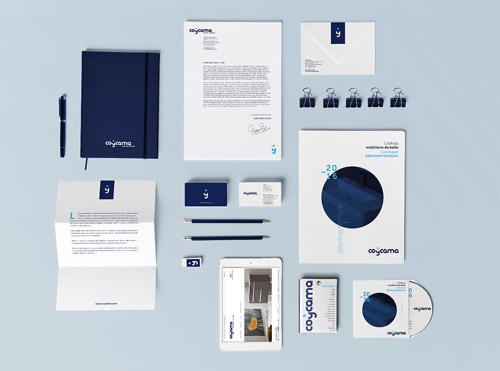 coycama marca identidad corporativa papelería corporativa aplicaciones diseño gráfico gráfica aplicada baño