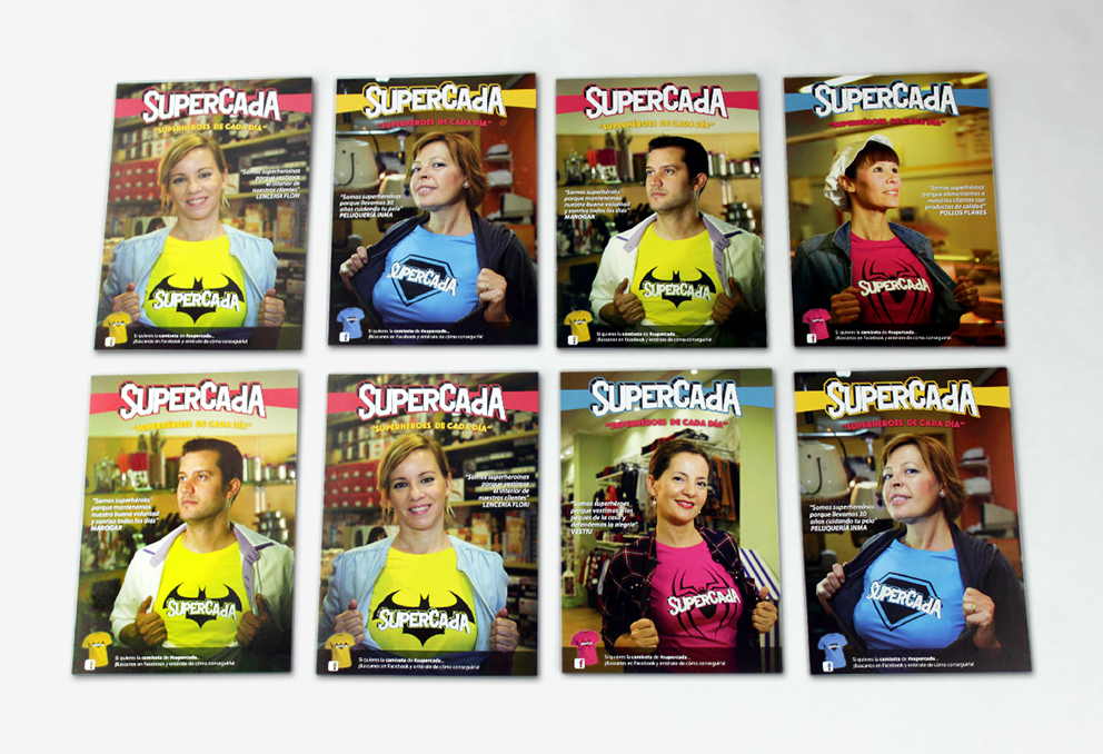 supercada diseño gráfico superhéroe campaña publicidad advertising redes sociales superhéroes superheroínas superman batman spiderman camisetas poster postal comerciantes CAdA Alaquás