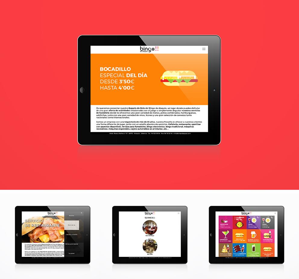 bingo alaquas, identidad corporativa, rediseño, branding, aplicación gráfica, marca, menú, tipografía, diseño gráfico, maquetación, web, programación, html5, javascript, parallax, posicionamiento, interactivo, gift, responsive, ilustración, flat icons, icons, ipad