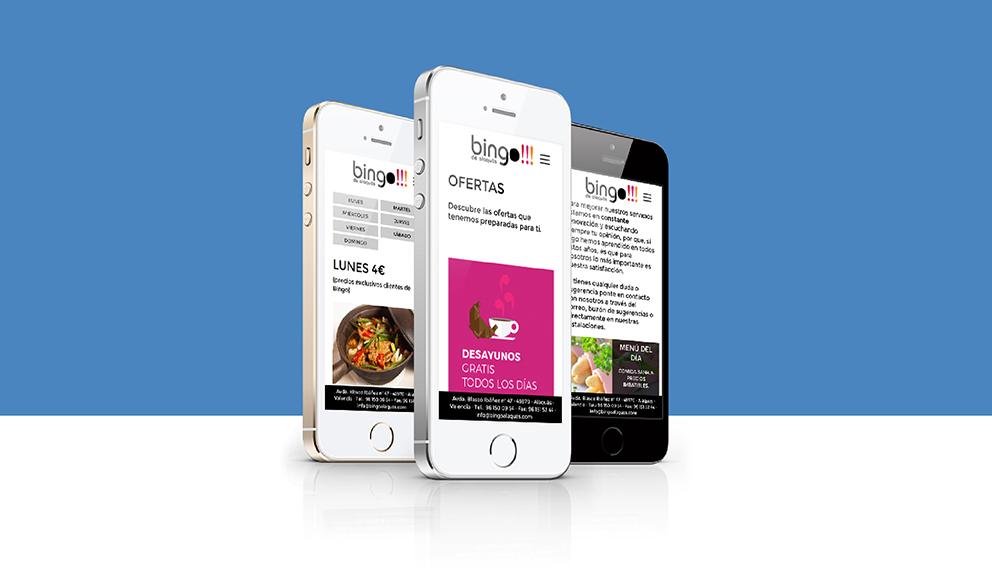 bingo alaquas, identidad corporativa, rediseño, branding, aplicación gráfica, marca, menú, tipografía, diseño gráfico, maquetación, web, programación, html5, javascript, parallax, posicionamiento, interactivo, gift, responsive, ilustración, flat icons, icons, iphone, phone