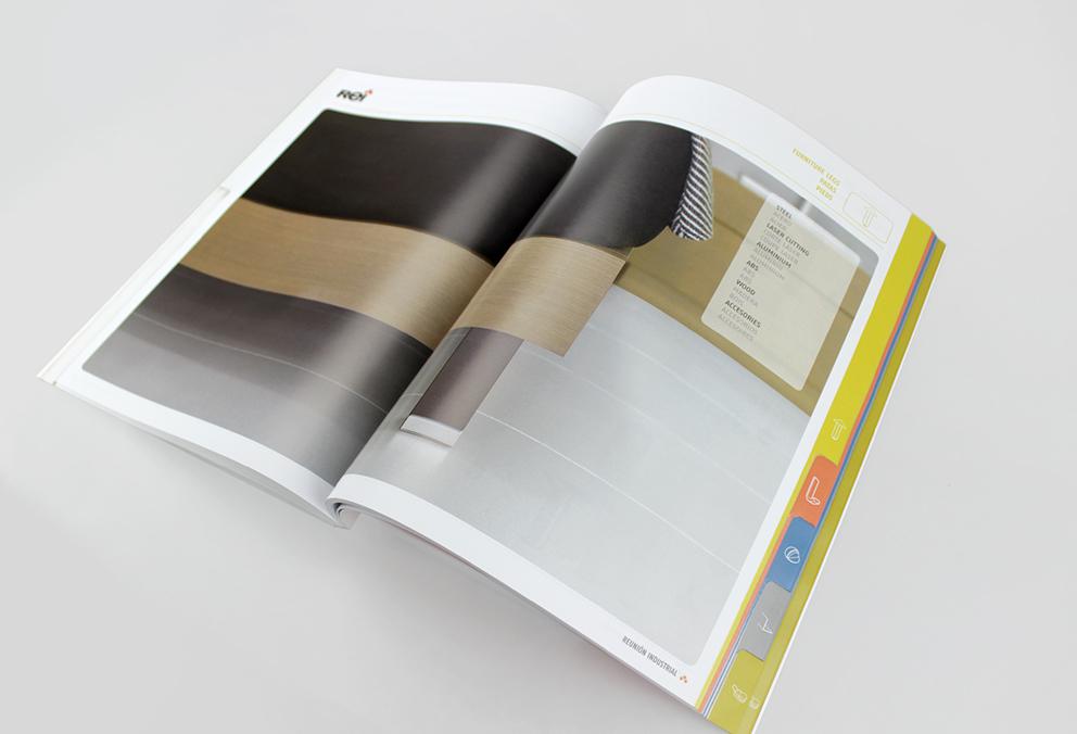 REI reunión industrial catalogo diseño editorial gráfico maquetación publicidad tiradores pequeño accesorio ordenación herrajes tornillería baldas mueble internacional fabricante