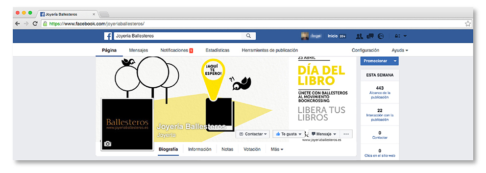 cabecera Facebook joyería Ballesteros ldía libro social media street marketing redes sociales bookcrossing