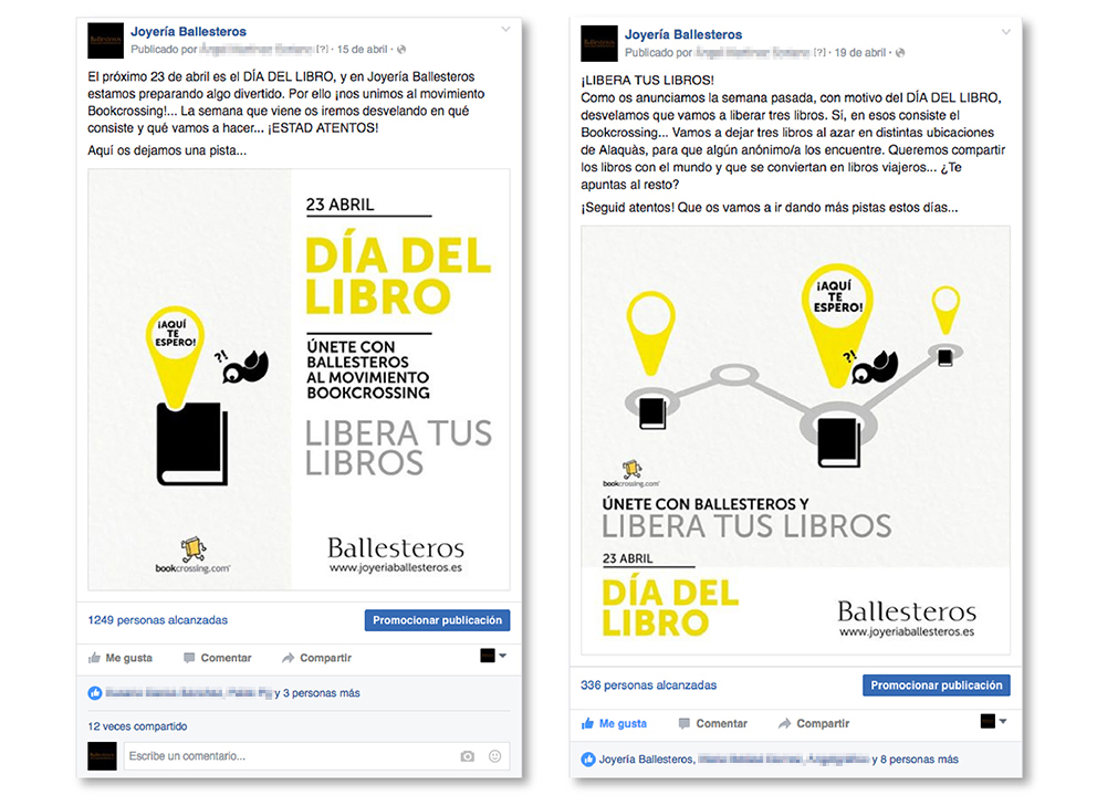 muro post Facebook joyería Ballesteros ldía libro social media street marketing redes sociales bookcrossing
