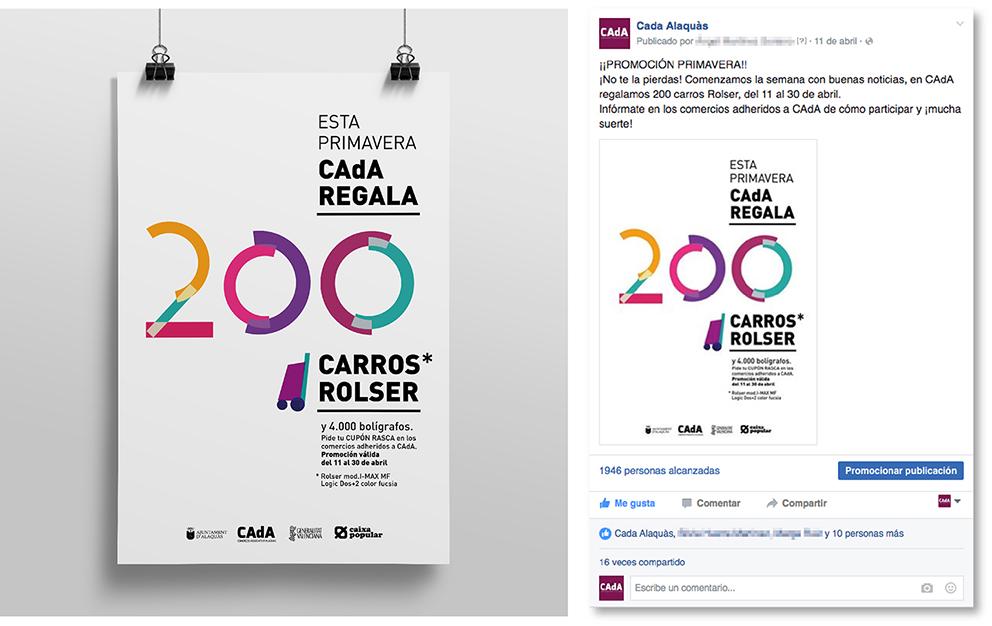 CAdA Alaquas comercio regalo carro rolser concurso diseño gráfico cartel poster campaña publicidad facebook redes sociales PLV rasca primavera fucsia fiebre rosa