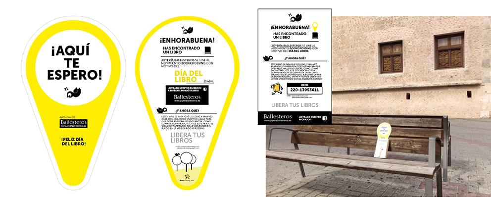 muro post Facebook joyería Ballesteros día libro social media street marketing gráfica señalización diseño estrategia redes sociales bookcrossing liberar biblioteca compartir cazar