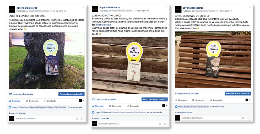 muro post Facebook joyería Ballesteros ldía libro social media street marketing redes sociales bookcrossing liberar biblioteca compartir cazar