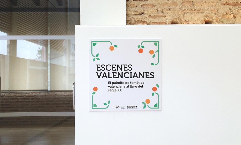 exposicion escenes valencianes diseño grafico vinilo imagen mosaico museo palmito abanico cultura valenciana aldaia naranja modular naranjo señalización