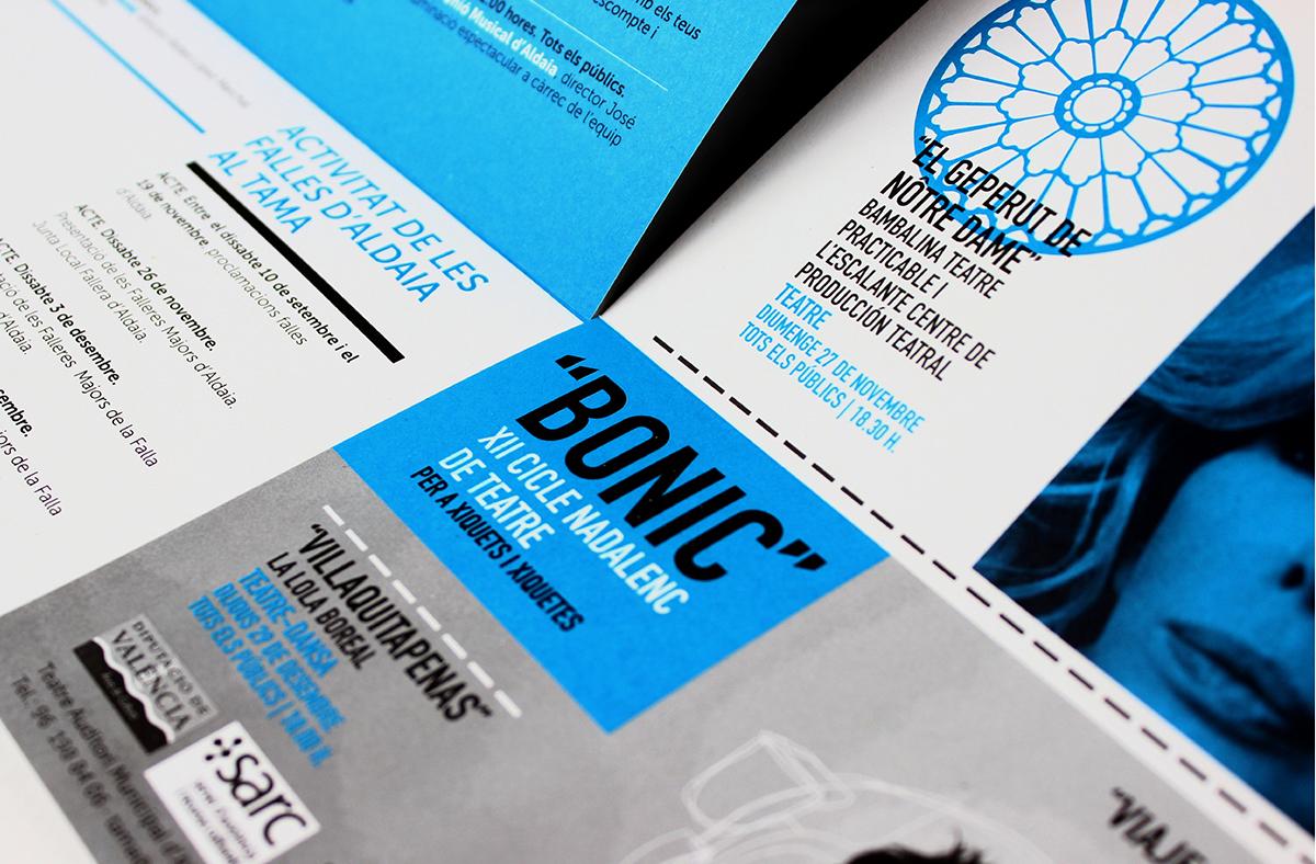 TAMA Aldaia diseño gráfico diseño experimental tipografía programación artes escénicas cultura teatro comunicación gráfica deconstrucción hilo hilar folleto tinta especial offset máscaras tipografía rotulación pantone BONIC