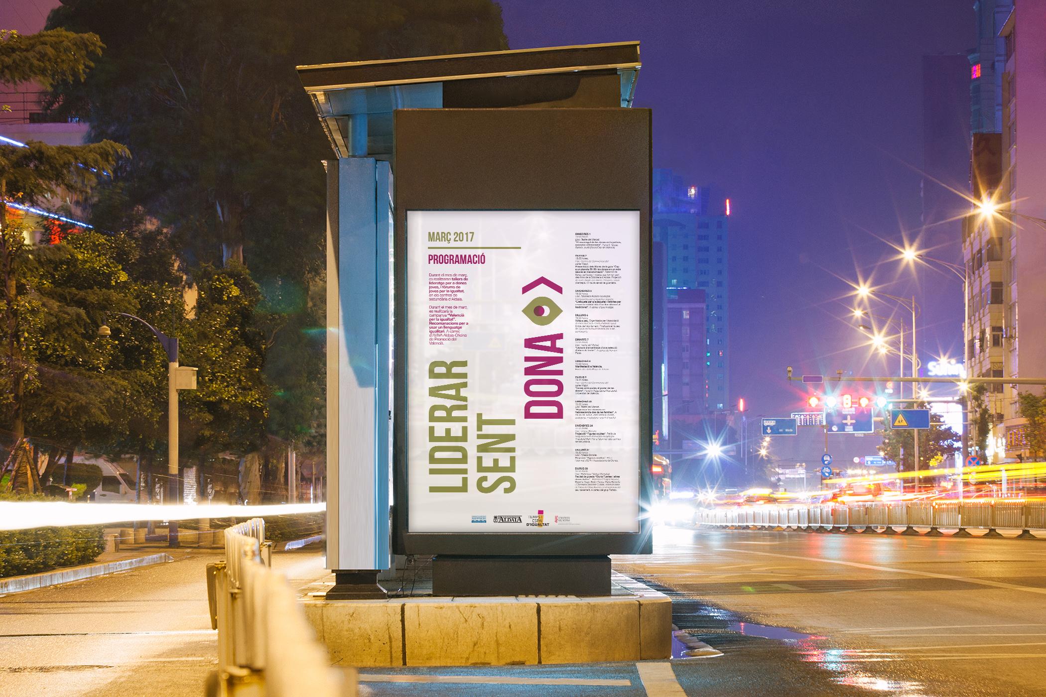 cartel dona campaña aldaia liderar igualdad angelgrafico diseño valencia mupi