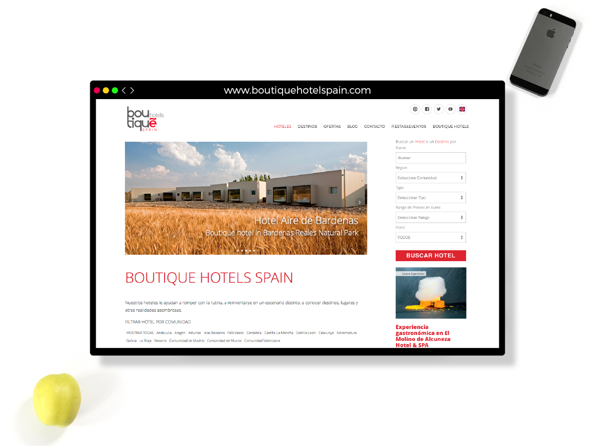 Diseño y programación Web Boutique Hotels Spain